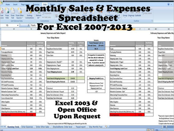 Monthly Sales Spreadsheet in Excel