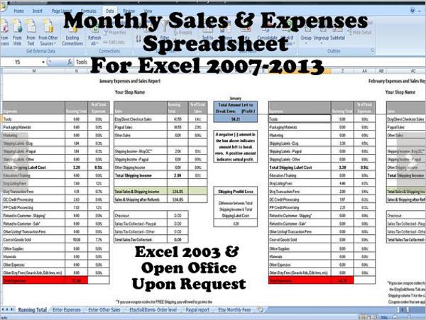 Monthly Sales Spreadsheet in Excel