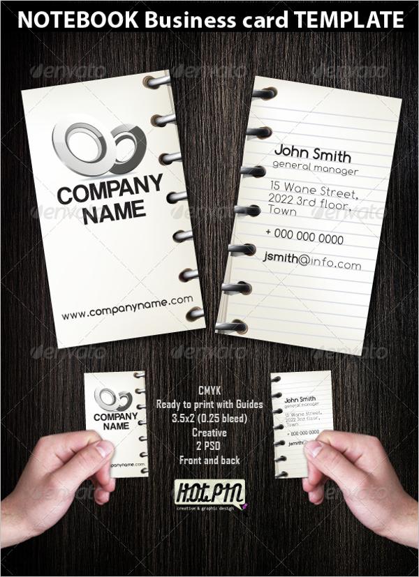 Notebook Business Card Template
