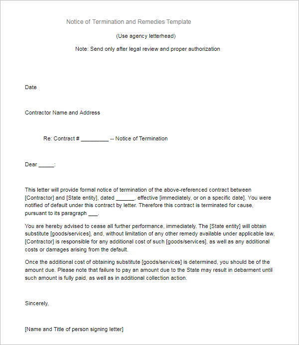 Notice of Service Termination Letter