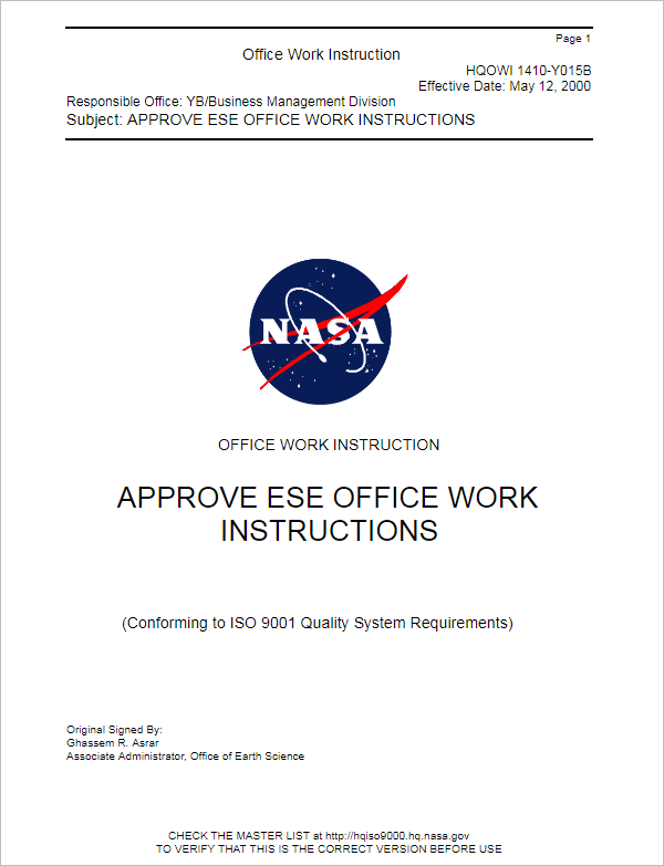 Office Work Instruction Template