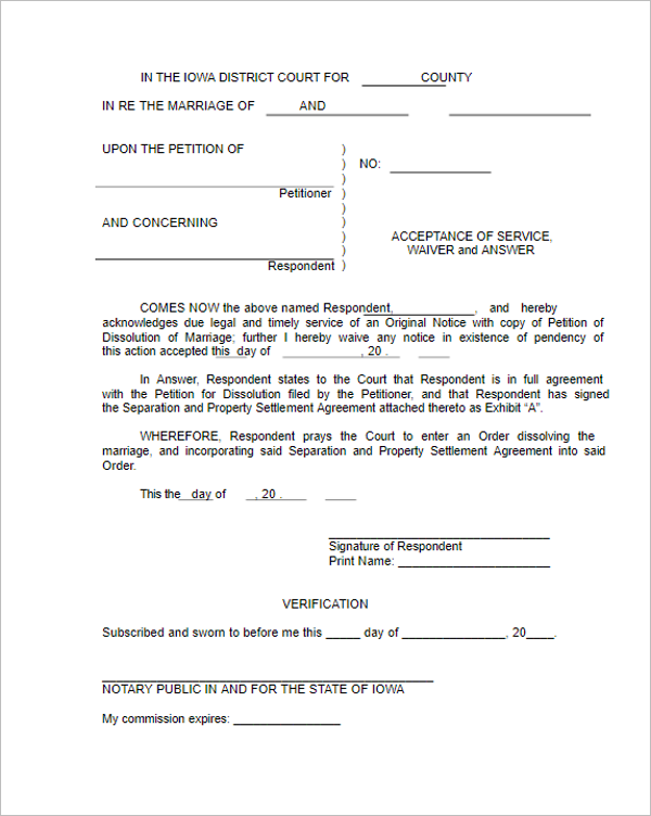 Online Divorce Paper Template