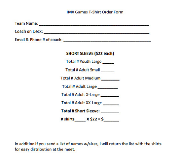 Online T-Shirt Form Template
