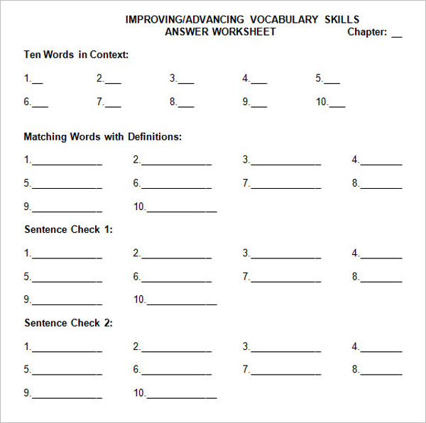 Online Worksheet Maker Template