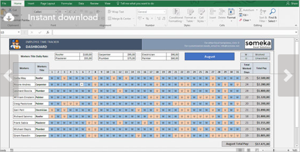 Payroll Format in Excel Sheet