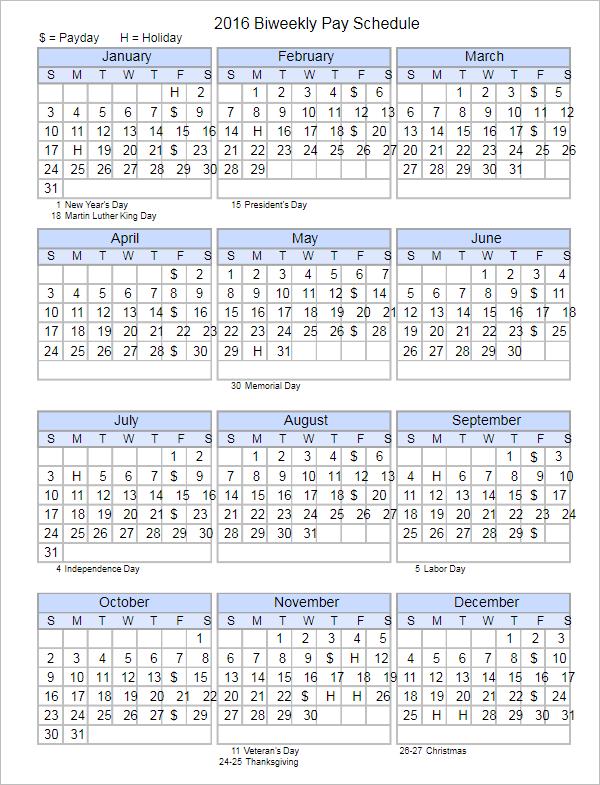Payroll Schedule Calendar Template