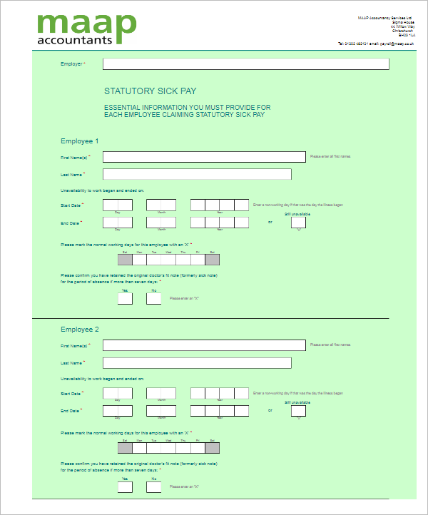 Payroll Template Example