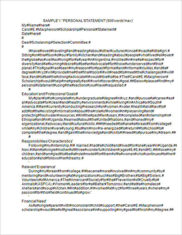 Personal Statement Example Template