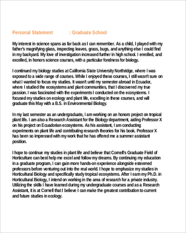 Personal Statement Examples For Graduate School