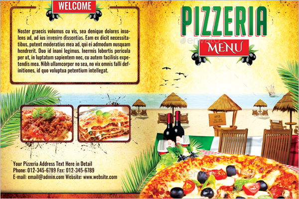Pizzeria Menu Card Template