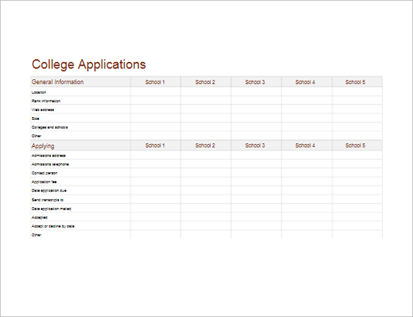 Practice College Application Form