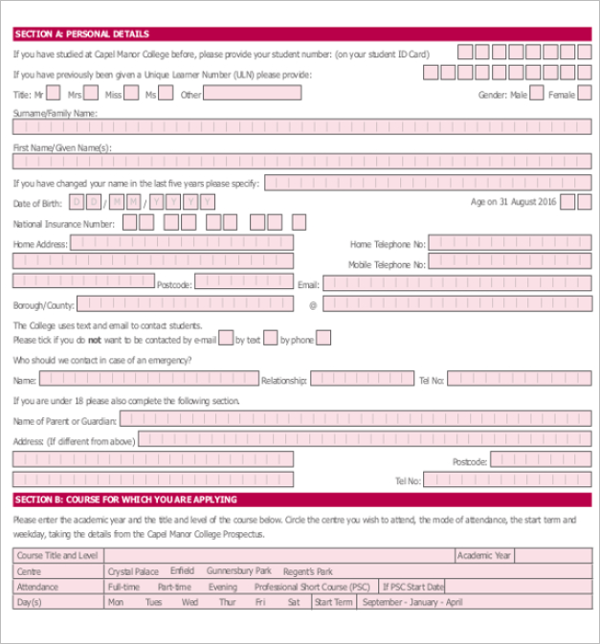 Printable College Application Form Template