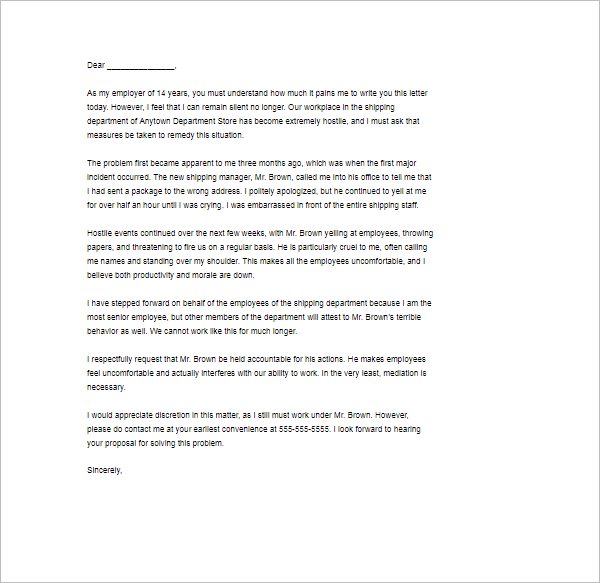 Printable Complaint Letter Template