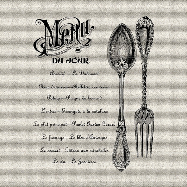 Printable French Menu Template