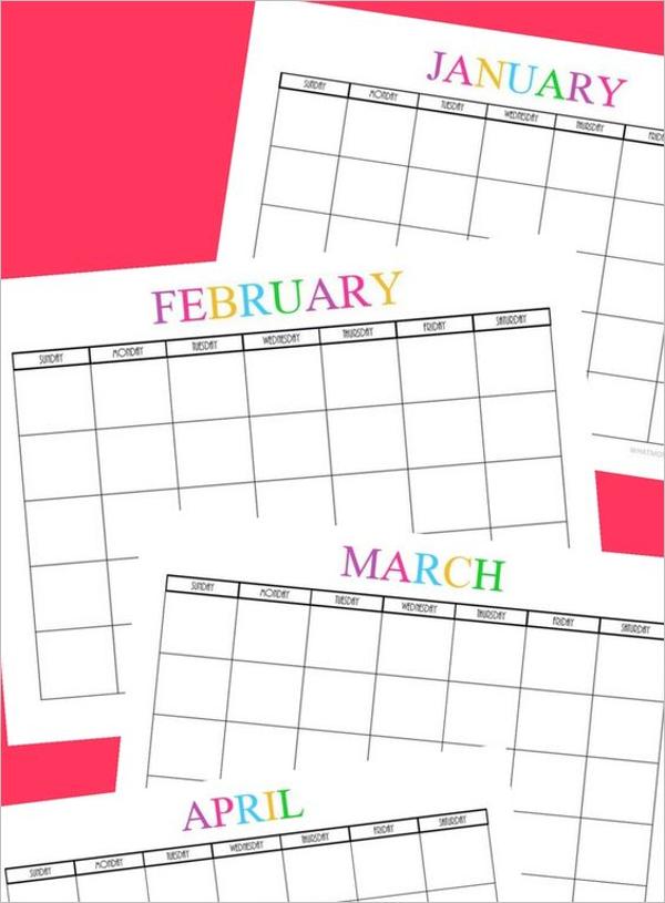 Printable Menu Calendar Template