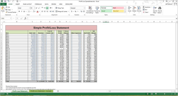 Profit Loss Statement Excel Spreadsheet Template  Profit Loss Template