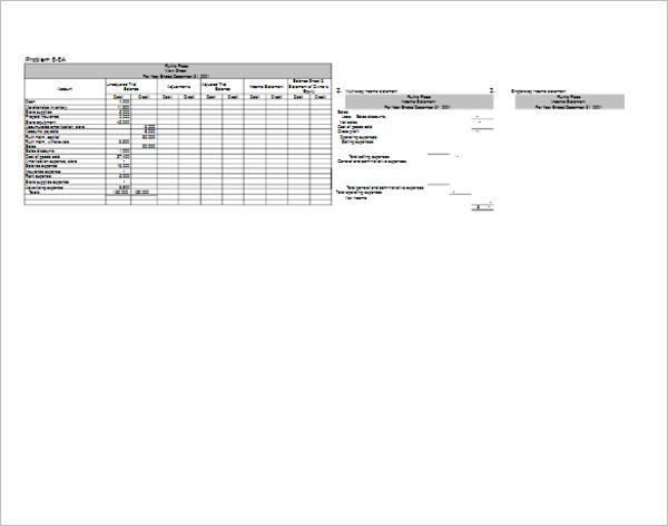 Profit & Loss Worksheet Template
