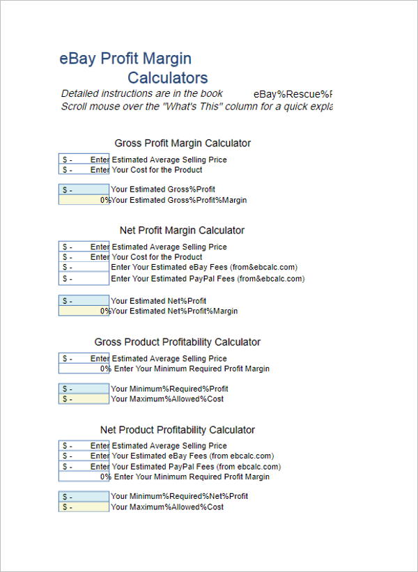 Profit Margin Calculator Excel Template