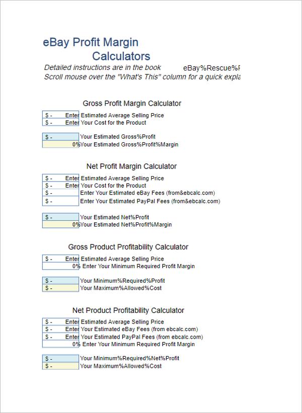 Profit Margin Calculator Excel Template