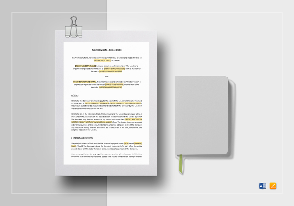 Promissory Note Line of Credit Template
