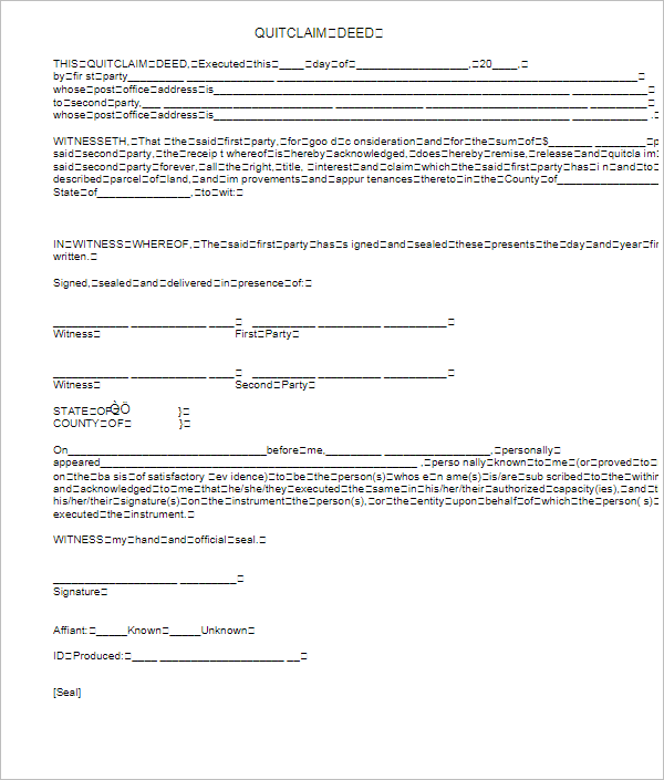Quick Clam Deed Form