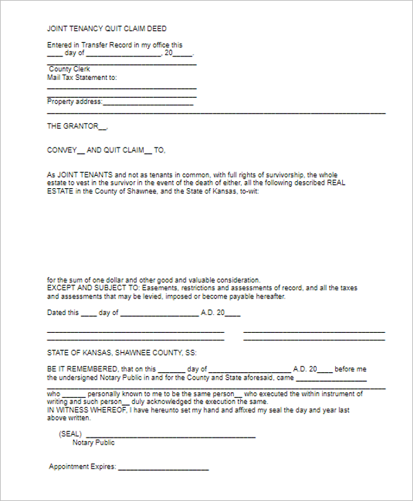 Quit Calm Deed Online Form
