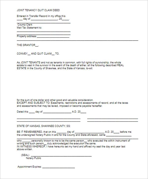 Quit Calm Deed Online Form