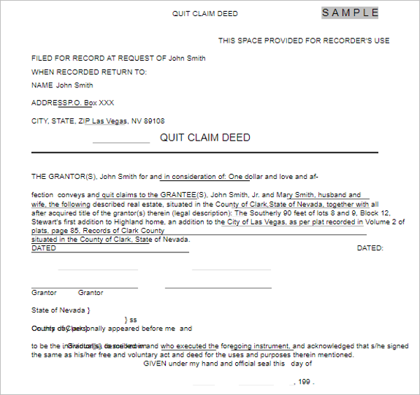 Quit Claim Deed Form Template