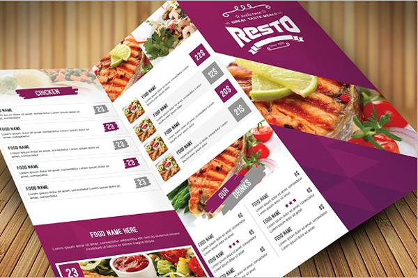 Realistic Catering Menu Template