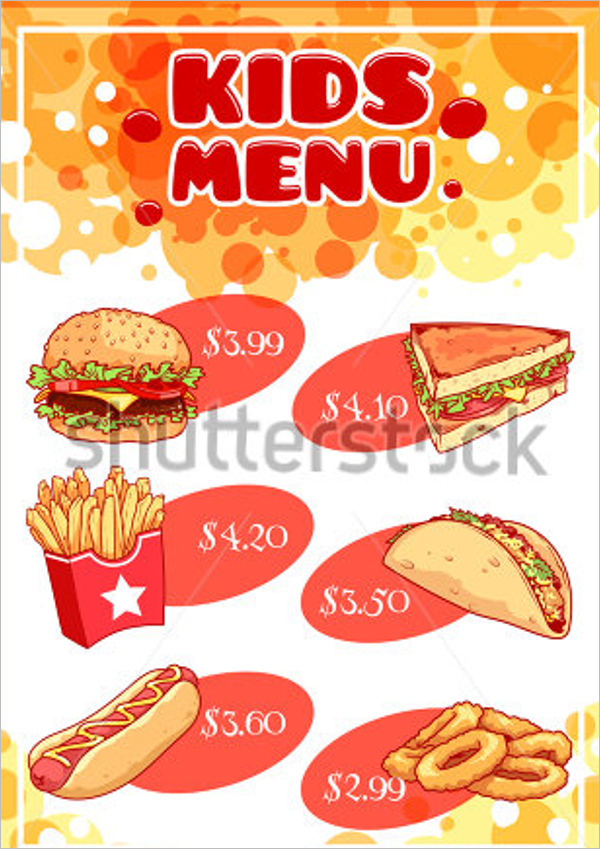 Realistic Kids Menu Design
