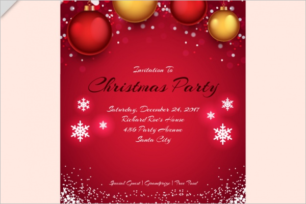 Red Christmas Invitation Design