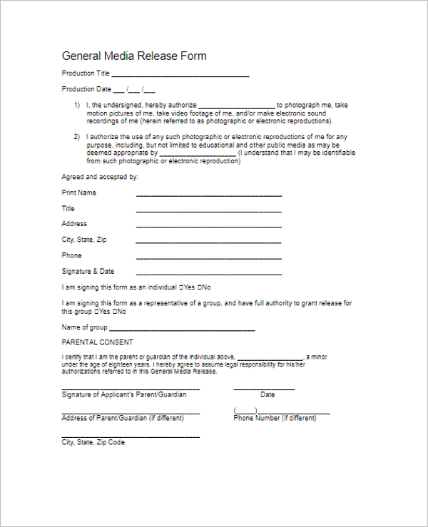 Release Form For Filming