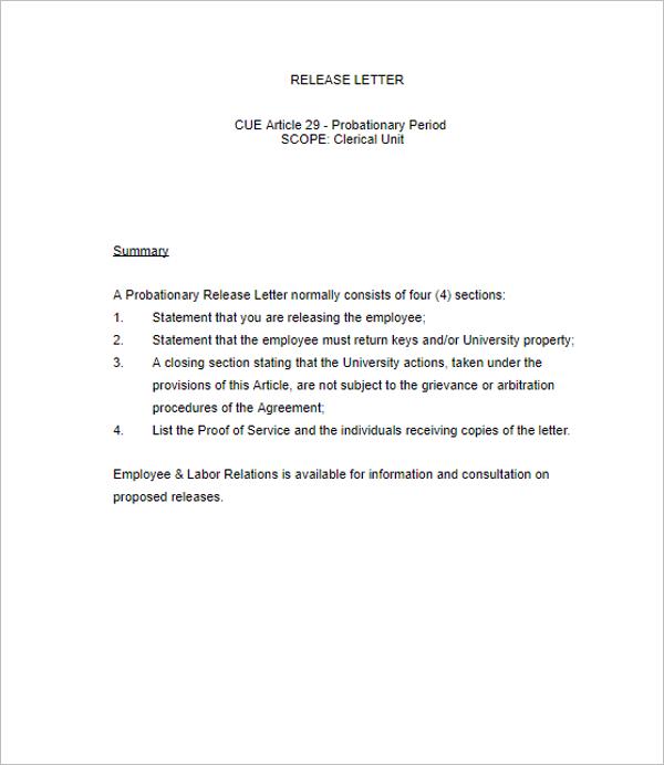 Release Letter Sample Template