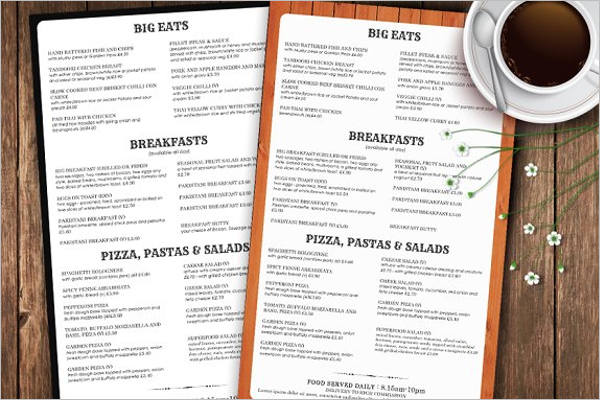 Restaurant Take Out Menu Template