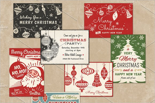Retro Christmas Greeting Cards Design