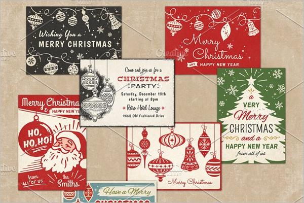 Retro Christmas Greeting Cards Design