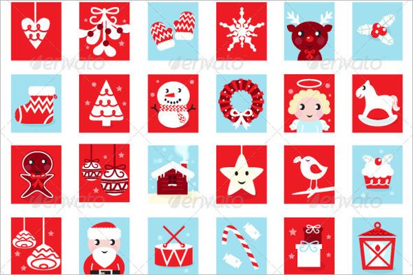Retro Christmas Icons Vector
