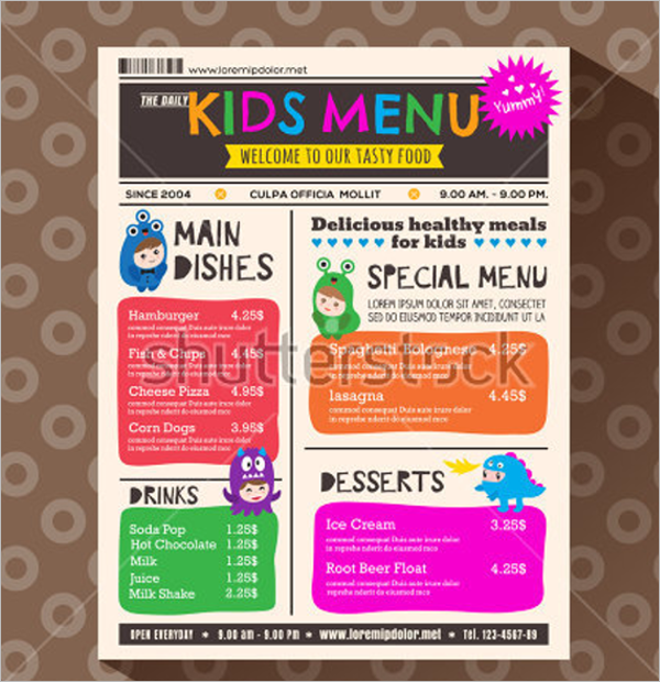 Retro Kids Food Menu Design