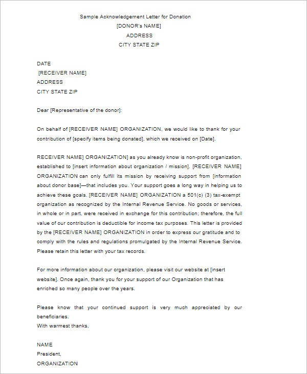 Sample Acknowledgement Letter For Donation