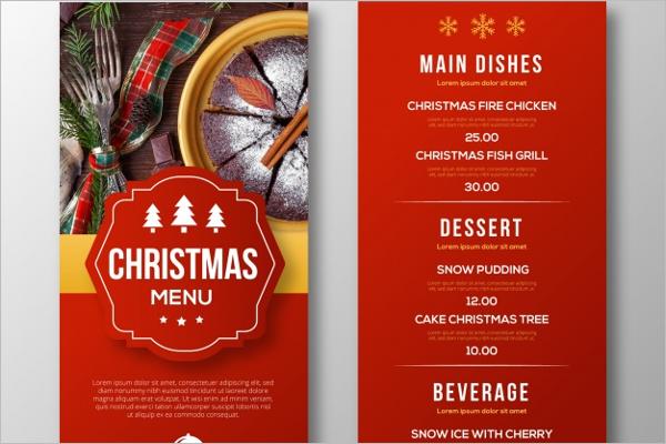Sample Christmas Menu Template