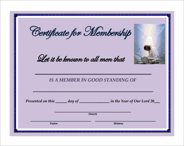 Sample Church Membership Certificate