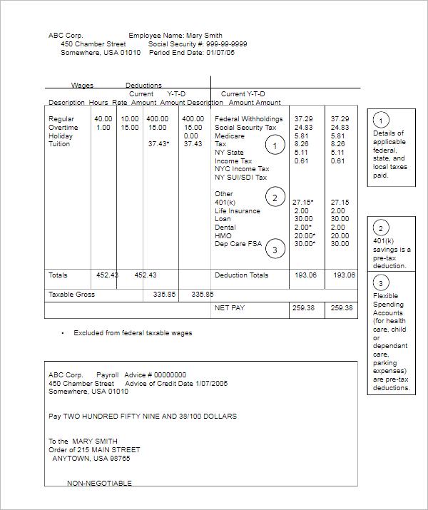 Sample Payroll Sheet Word