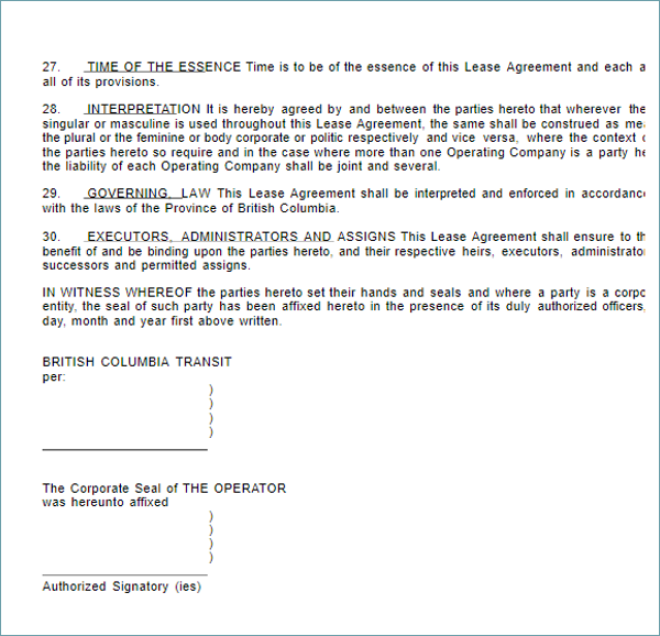 Sample Vehicle Lease Agreement