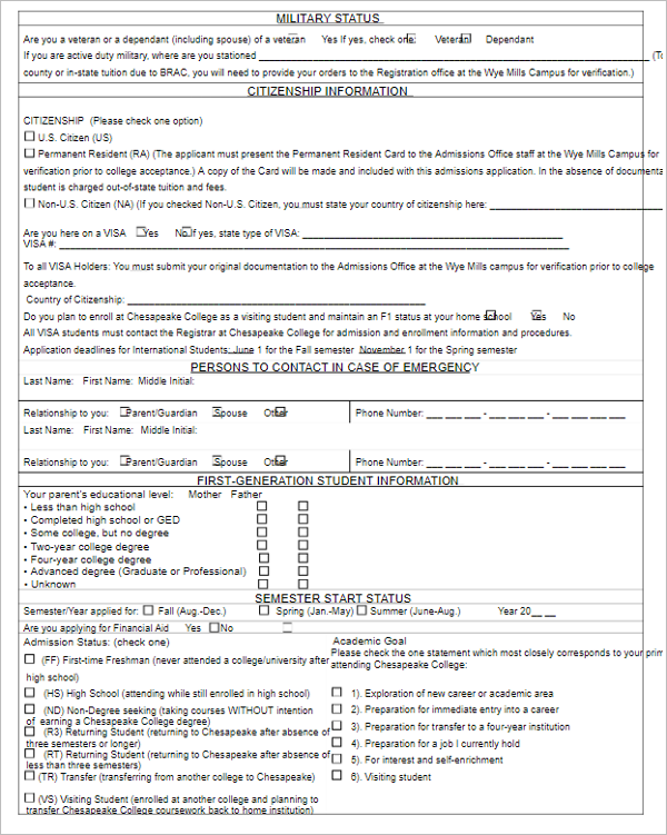 School Admission Form Format Word