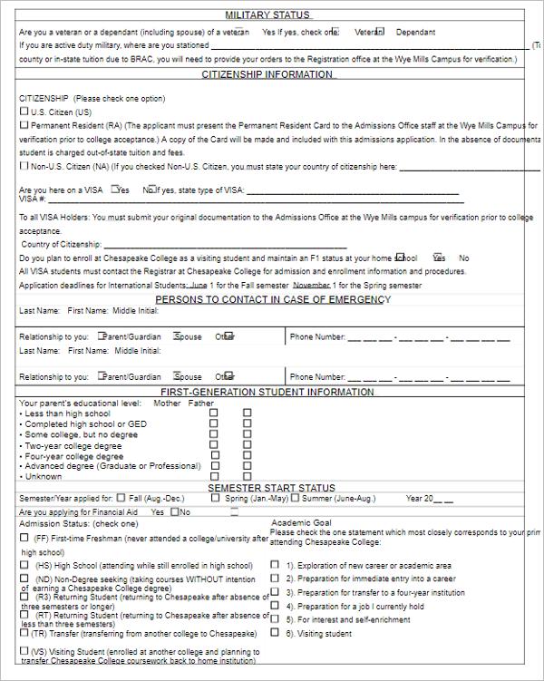 School Admission Form Format Word