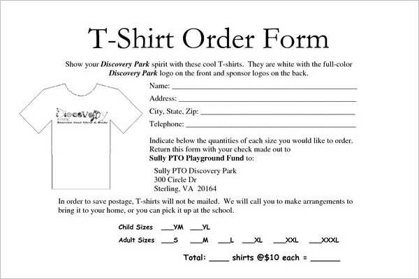 school t shirt order form template