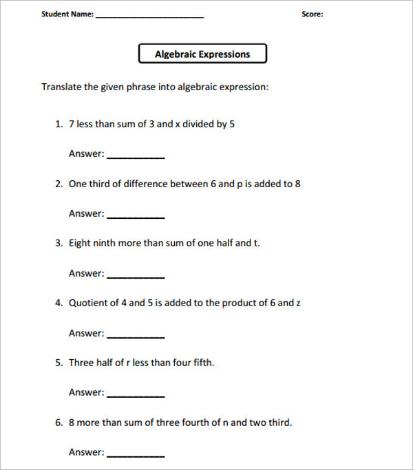 School Worksheet Template