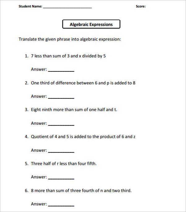 School Worksheet Template