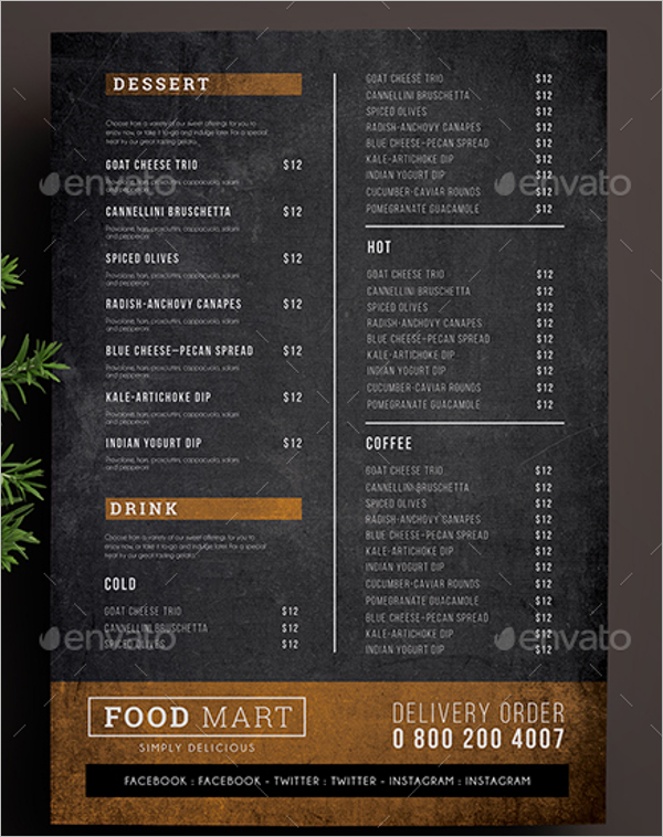 Simple Chalkboard Menu Template