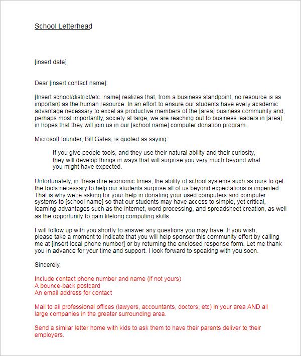 Simple Donation Letter Format